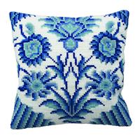 Coussin Point de Croix - Fleurs bleues I - Collection d Art - Code CDA-5115
