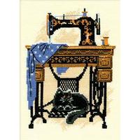 Chat avec la machine à coudre - Riolis - 857