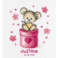VERVACO  0011946  Tableau de naissance  Petite souris rose