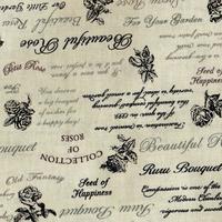 Tissu  Roses avec des écritures  4523 025