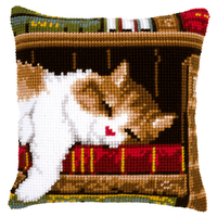 Coussin point de croix Chat dormant - Vervaco PN-0146409
