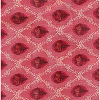 TISSU  MÉDAILLONS ROSE ROUGE
