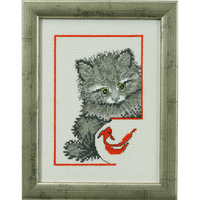 Chaton et Poisson rouge - Permin 92-0142