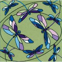 Coussin ou panneau vitrail libellules  1655  Riolis