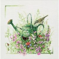 Arrosoir fleurie  et oiseau  0007950  Lanarte