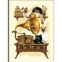 Chat avec gramophone 859  Riolis