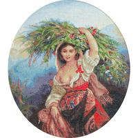 Italienne à la gerbe de fleurs - Luca-S - B466
