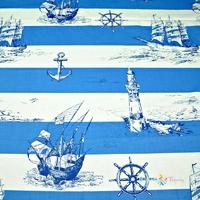 Rayures de marin en coton bleu sur fond blanc