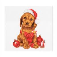 Christmas puppy - Thea Gouverneur 730A - Kit broderie point de croix en vente sur www.la-brodeuse.com