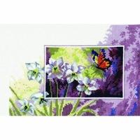 Papillon sur fleur blanche  70-3165  Permin