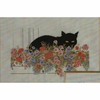 Chat dans les fleurs  70-0404  Permin