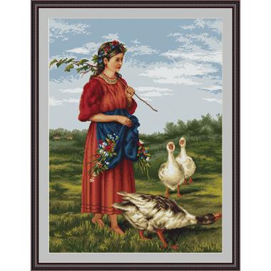 La gardienne d'oies - Luca-S B486 - Kit broderie point de croix en vente sur www.la-brodeuse.com