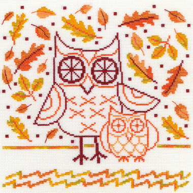 Autumn owl - Bothy Threads XDJ1 - Kit broderie point de croix en vente sur www.la-brodeuse.com