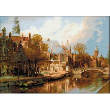 Amsterdam. La vieille église (sans cadre) - Riolis 1189 sur www.la-brodeuse.com