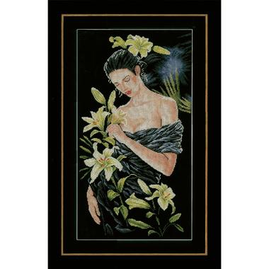 La dame aux lys - Lanarte PN-0155748 - Kit broderie en vente sur www.la-brodeuse.com