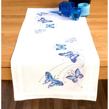 papillons bleu 0145089 kit de broderie par marque vervaco. Black Bedroom Furniture Sets. Home Design Ideas