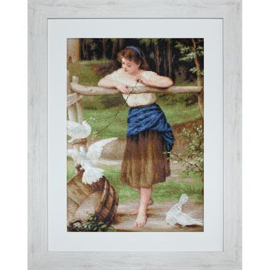 Jeune fille jouant avec des pigeons - Kit broderie Luca-S B516 en vente sur www.la-brodeuse.com