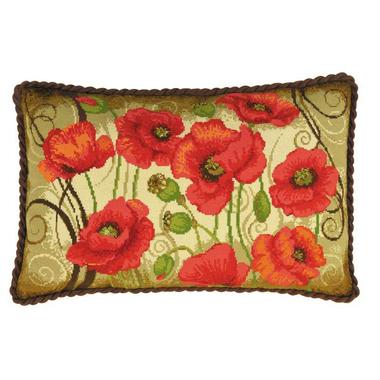 Oriental poppies cushion Riolis 1433 Kit broderie en vente sur www.la-brodeuse.com