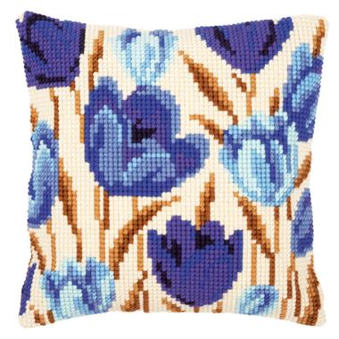 Coussin point de croix Tulipes bleues - Vervaco PN-0021764 sur www.la-brodeuse.com - Livraison offerte dès 65 € d'achats.