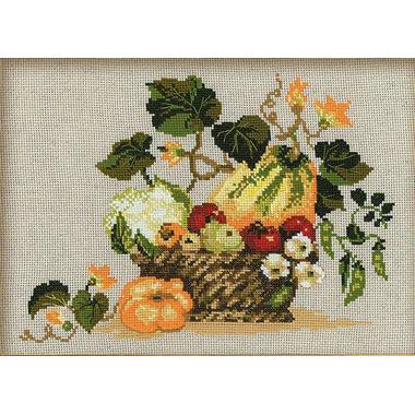 Panier de Fruits d'automne (sans cadre) - Riolis 1076 - Kit broderie point de croix sur www.la-brodeuse.com
