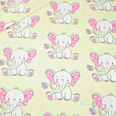 Éléphants de coton avec des fleurs sur fond jaune clair