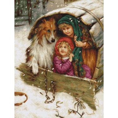A l'abri dans la niche - Luca-S LB539 - Kit broderie point de croix en vente sur www.la-brodeuse.com