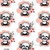 Tissu DJ Abricot Panda  00024