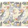 Tissu Lapins gris avec des fleurs  00031