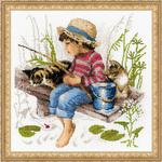 A la pêche - Riolis 1470 - Kit broderie point de croix sur www.la-brodeuse.com