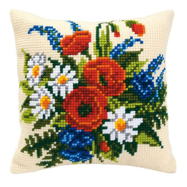 coussin broder fleurs des champs vervaco pn 0008549. Black Bedroom Furniture Sets. Home Design Ideas