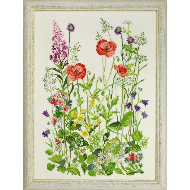 Coquelicots et Fleurs champêtres   Permin 90-2315 - Kit Aïda - Kits Broderie par Marque/Permin ...