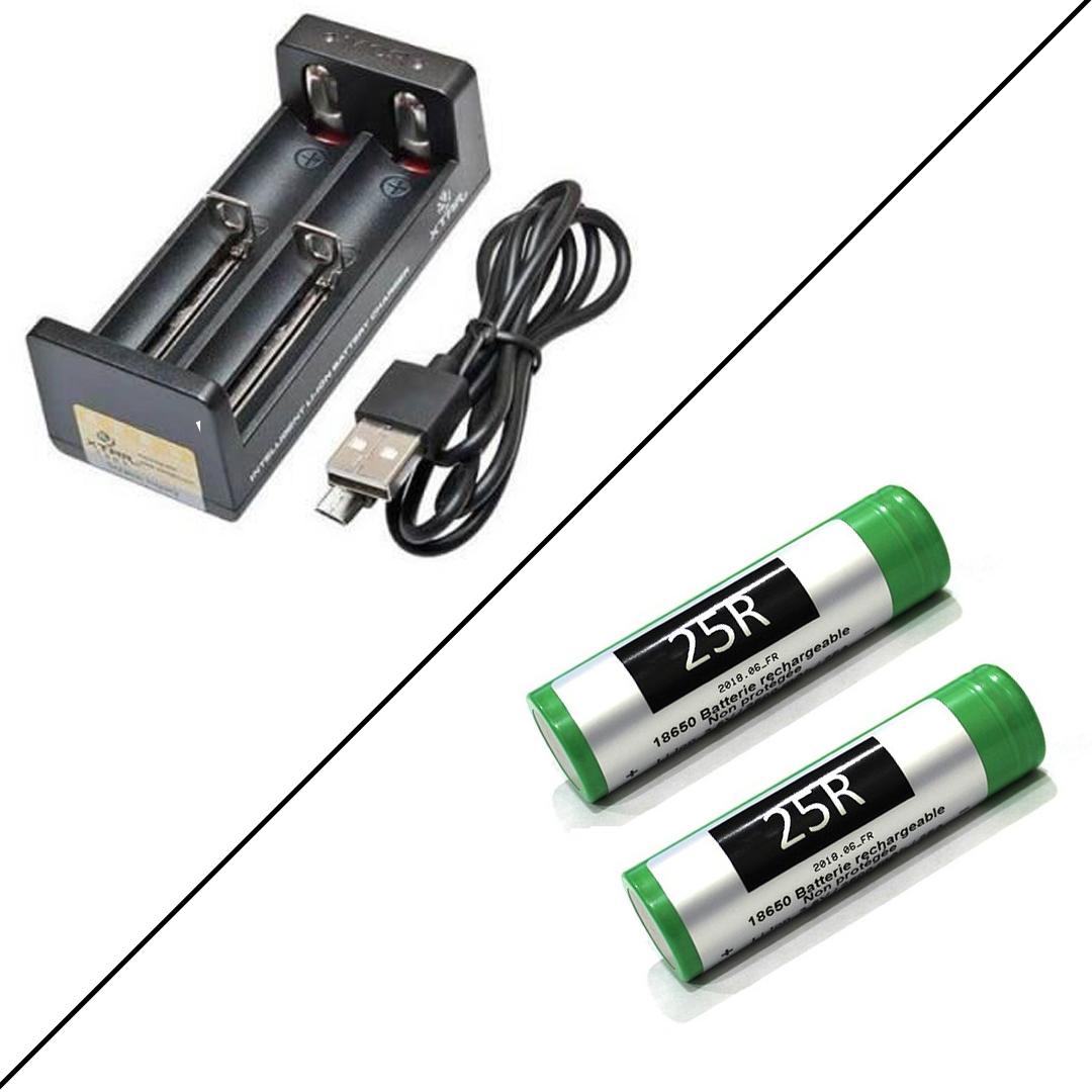 Pack Chargeur MC2 et Deux Accus 25R - Xtar / Samsung