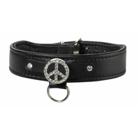 Collier pour Chien Cuir Swarovski Peace and Love