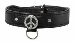collier cuir chien bobby swarovski peace and love