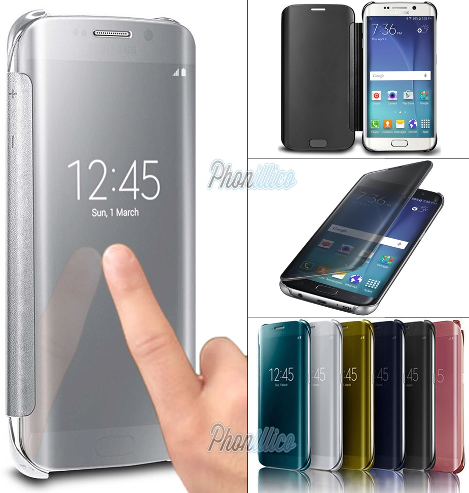 Coque housse etui flip cover clear view pour samsung for Housse samsung galaxy