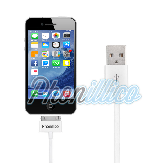 cable usb chargeur pour apple iphone 4 4s apple iphone 4 4s phonillico. Black Bedroom Furniture Sets. Home Design Ideas