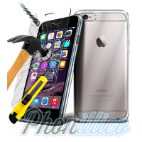 Coque Housse Etui Ultra Slim TPU Transparent + Film Protection Verre Trempe pour Apple iPhone 6 Plus / 6S Plus