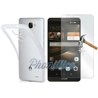 Coque Housse Etui Ultra Slim TPU Transparent + Film Protection Verre Trempe pour Huawei Ascend Mate 7
