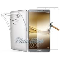 Coque Housse Etui Ultra Slim TPU Transparent + Film Protection Verre Trempe pour Huawei Mate 8