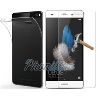 Coque Housse Etui Ultra Slim TPU Transparent + Film Protection Verre Trempe pour Huawei P8