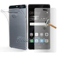 Coque Housse Etui Ultra Slim TPU Transparent + Film Protection Verre Trempe pour Huawei P9 PLUS