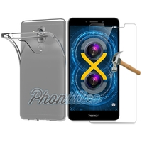 Coque Housse Etui Ultra Slim TPU Transparent + Film Protection Verre Trempe pour Huawei Honor 6X