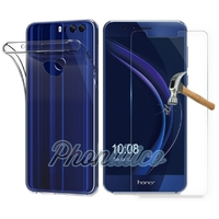 Coque Housse Etui Ultra Slim TPU Transparent + Film Protection Verre Trempe pour Huawei Honor 8