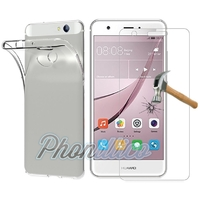 Coque Housse Etui Ultra Slim TPU Transparent + Film Protection Verre Trempe pour Huawei NOVA
