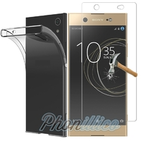 Coque Housse Etui Ultra Slim TPU Transparent + Film Protection Verre Trempe pour Sony Xperia XA1 Ultra