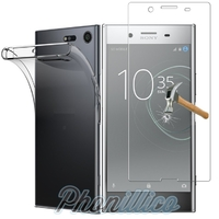 Coque Housse Etui Ultra Slim TPU Transparent + Film Protection Verre Trempe pour Sony Xperia XZ Premium