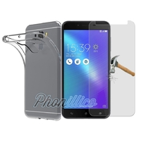 Coque Housse Etui Ultra Slim  TPU Transparent + Film Protection Verre Trempe pour Asus Zenfone 3 Max PLUS ZC553KL