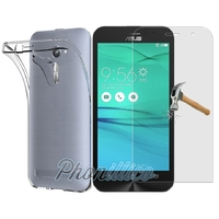Coque Housse Etui Ultra Slim TPU Transparent + Film Protection Verre Trempe pour Asus Zenfone GO ZB552KL