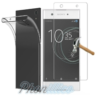 Coque Housse Etui Ultra Slim TPU Transparent + Film Protection Verre Trempe pour Sony Xperia XA1