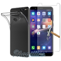 Coque Housse Etui Ultra Slim TPU Transparent + Film Protection Verre Trempe pour Huawei Honor 7X